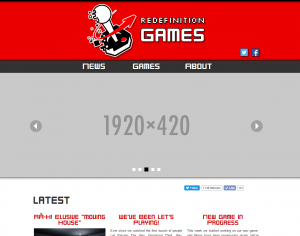 The new front page for Redefinition Games (WIP).